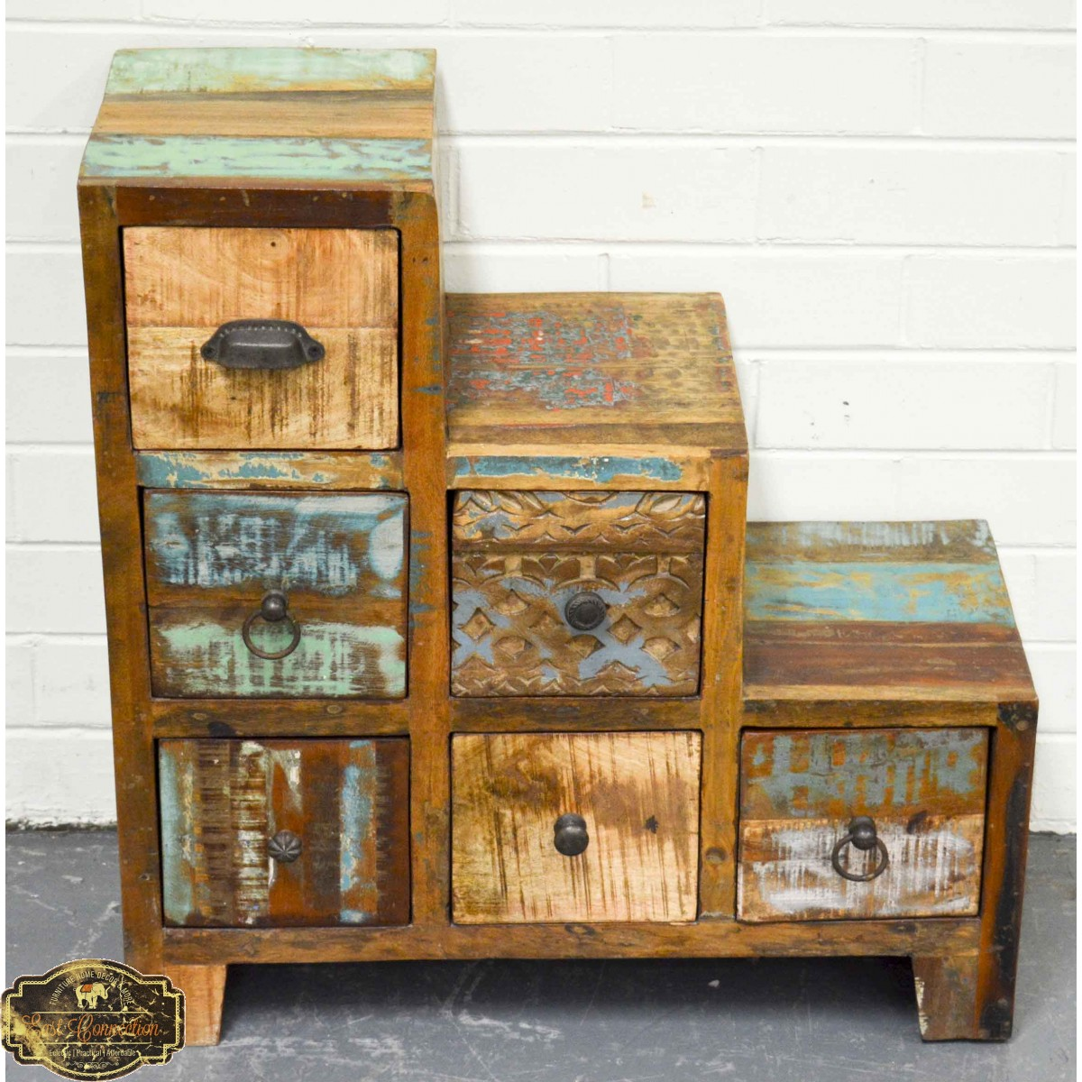 Recycled Timber Step Bedside Drawers
