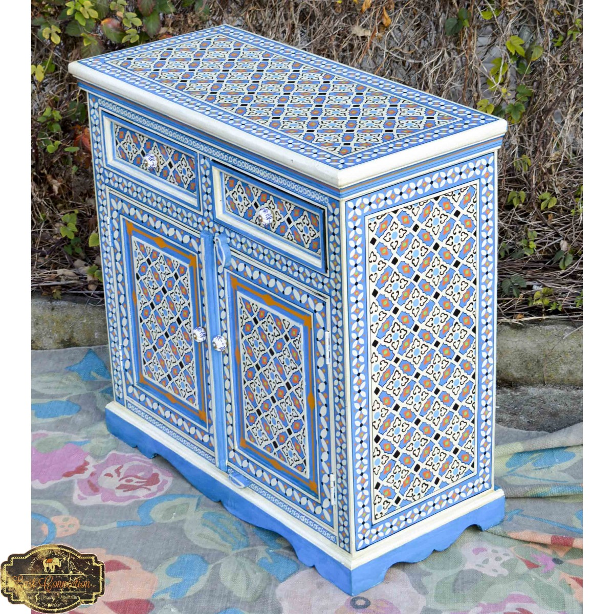 Blue Indian Hand Painted Moroccan Geometric Tile Pattern
