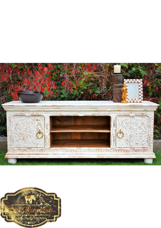 Rustic White French Country Shabby Chic Entertainment TV Unit