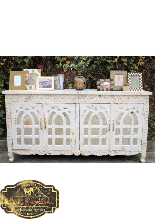 White Carved French Provincial Mirror Door Buffet Sideboard