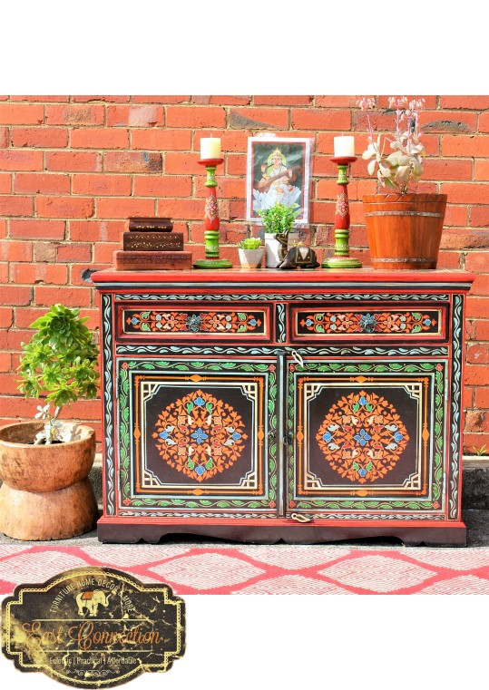 Black Hand Painted Indian Floral Sideboard