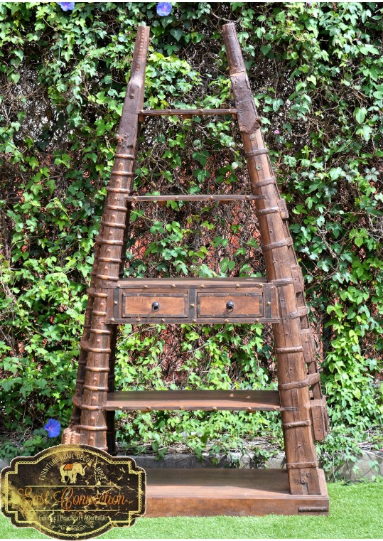 Antique Indian Bullock Cart Reclaimed Timber Bookshelf