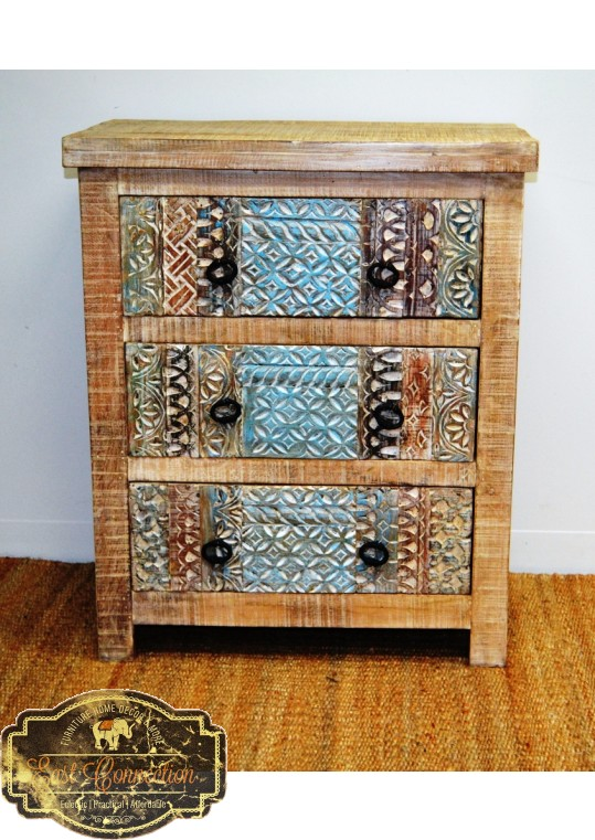 Hand Carved Shabby Chic Drawer unit