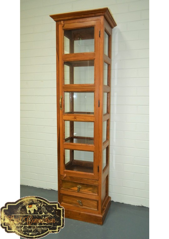 Indian Teak & Glass Display Cabinet Bookcase