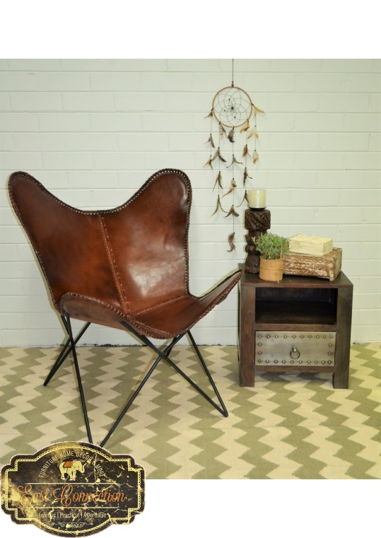 Vintage Industrial Brown Leather Butterfly Chair