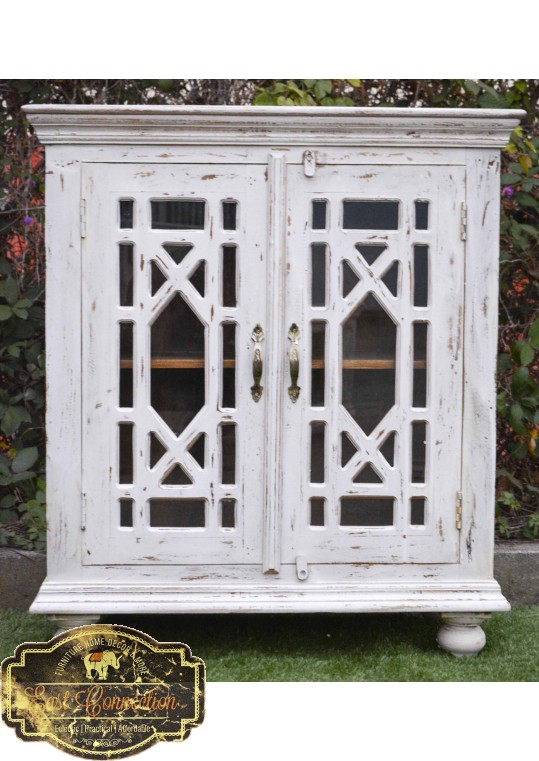 White Glass Door French Provincial Sideboard Cabinet
