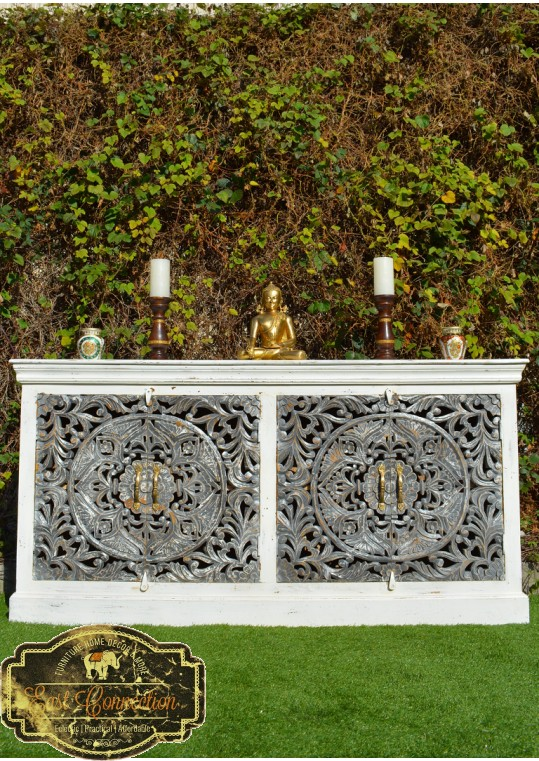 White French Provincial Grey Floral Mandala Carved Sideboard