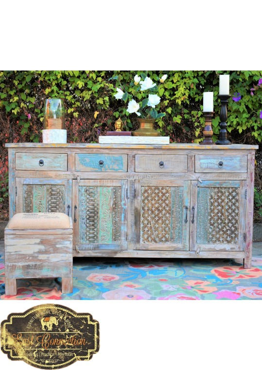 Hand Carved Shabby Chic Buffet Sideboard