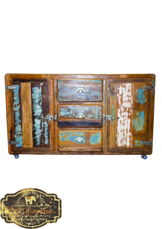 Recycled Timber Retro Industrial Sideboard