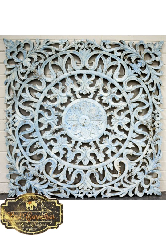 Hand Carved Antique Pattern Timber Wall Art Panel