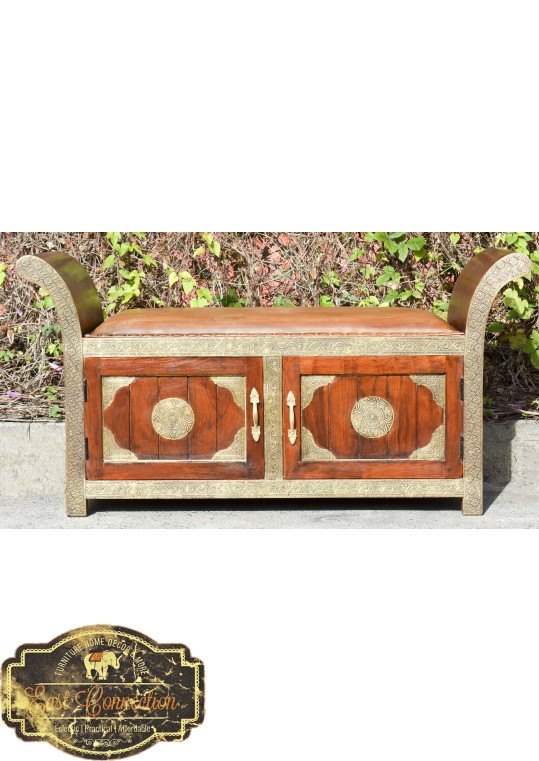 Indian Teak Embossed Brass Leather Top Roman Seat