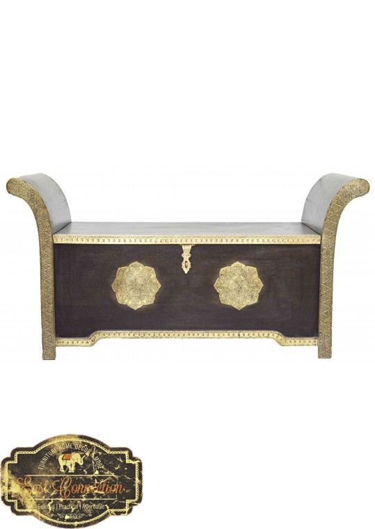 Indian Teak Moroccan Embossed Brass Roman Seat
