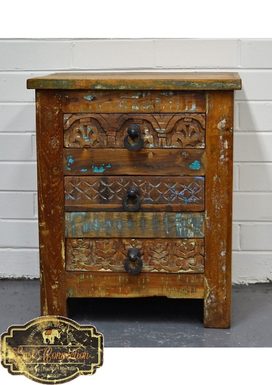 Reclaimed Timber Hand Carved Bedside Drawers