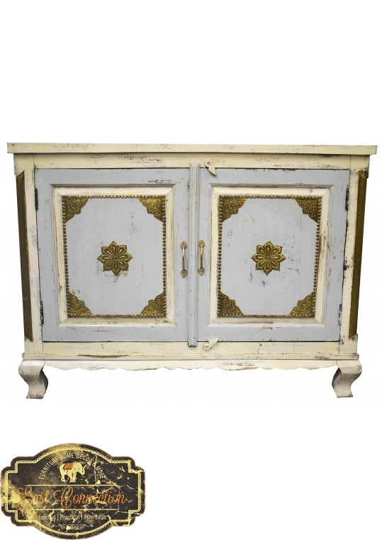 French Shabby Chic Brass Fitted Sideboard Cabinet