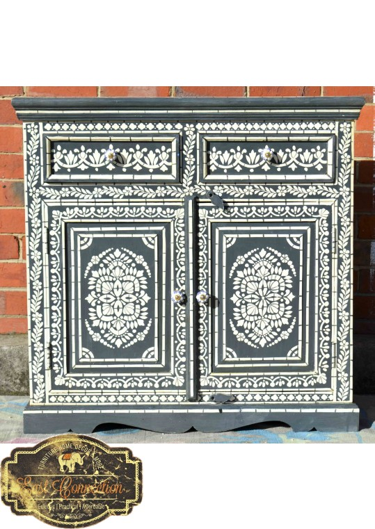 Grey Hand Painted Timber Bone Inlay Sideboard Cabinet