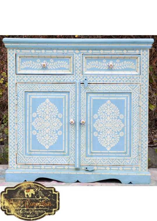 Blue Hand Painted Timber Bone Inlay Sideboard Cabinet
