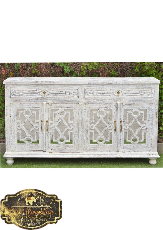 Sandblasted French Provincial Mirror Door Shabby Chic Buffet