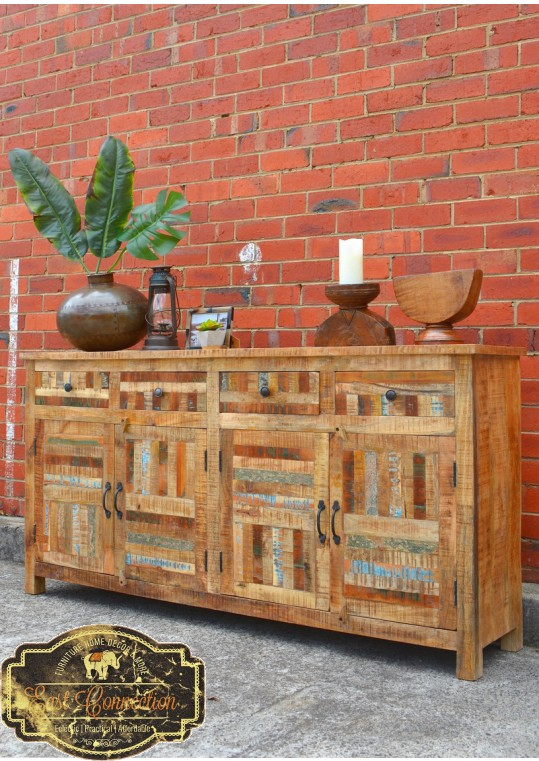Vintage Reclaimed Timber Parquet Country Buffet Sideboard
