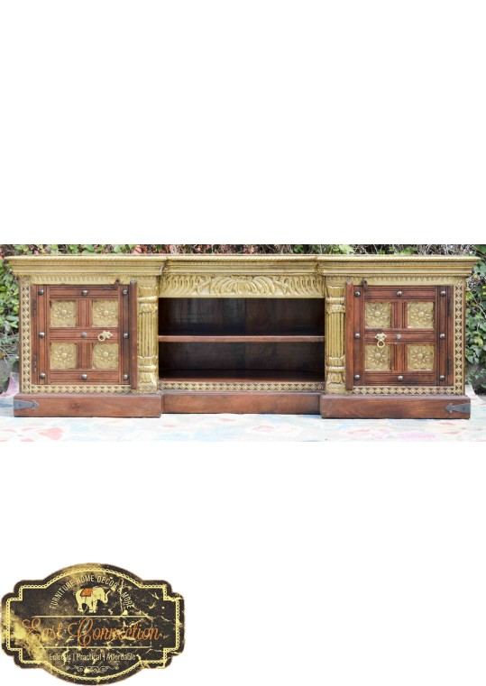 Large Indian Brass & Timber Entertainment TV Unit