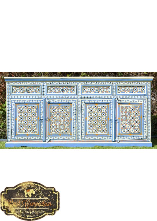 Blue Hand Painted Moroccan Geometric Pattern Buffet Sideboard