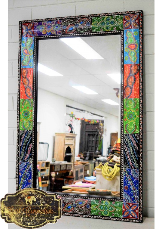 Handpainted Patchwork Pattern Boho Mirror