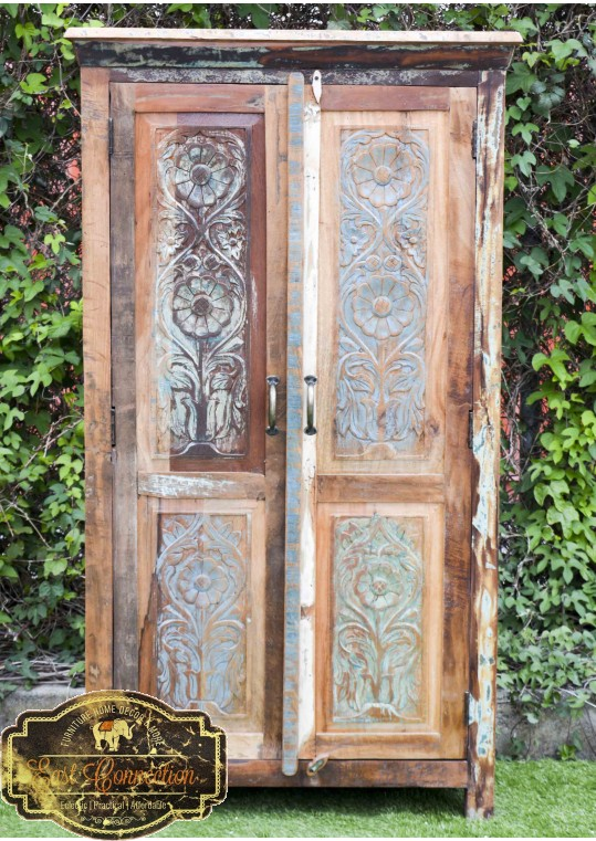 Recycled Timber Carved Floral Door Wardrobe