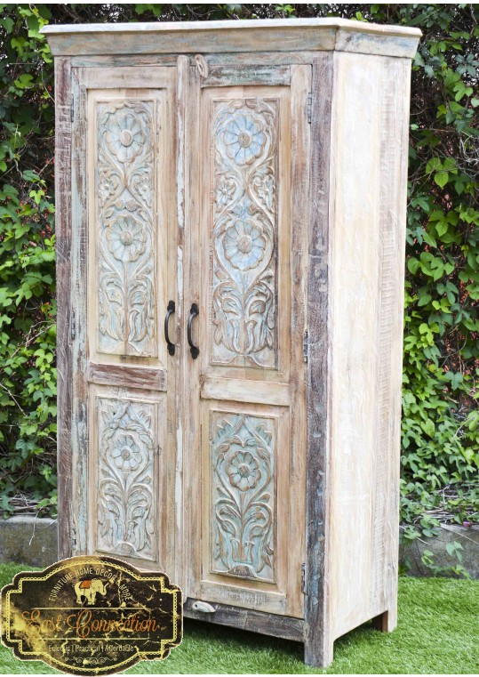 Shabby Chic Recycled Timber Carved Floral Door Wardrobe