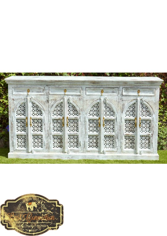 Blue Sandblasted French Provincial Shabby Chic Buffet