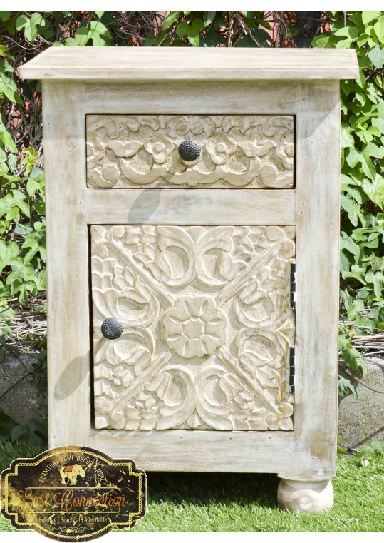 Shabby Chic Hand Carved Floral Bedside