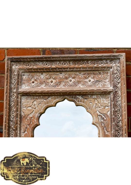 Vintage Indian Mehrab Whitewashed Antique Mirror