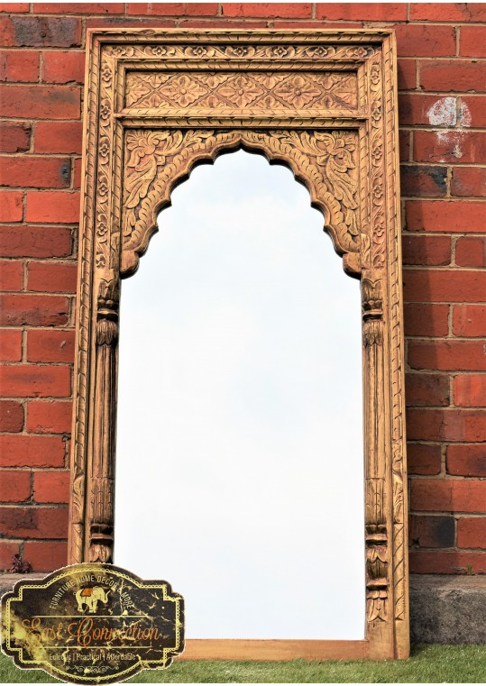 Indian Antique Brass Fitted Mehrab MIrror