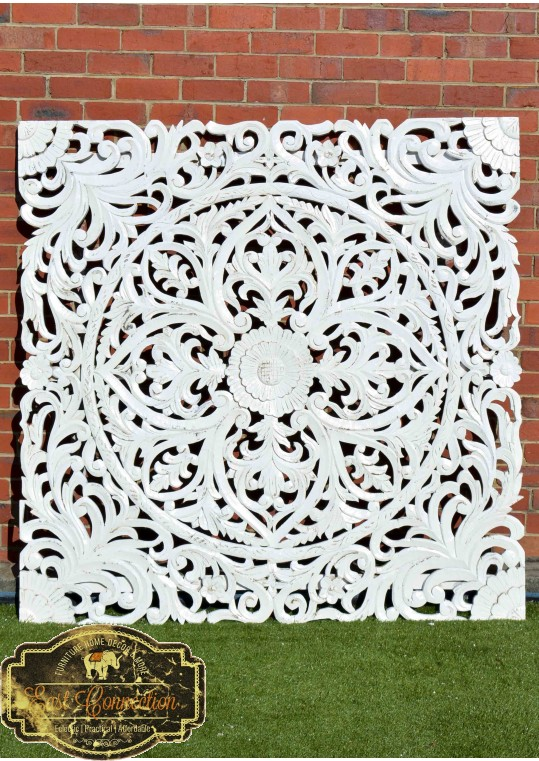 White Hand Carved Antique Timber Large Wall Art Panel