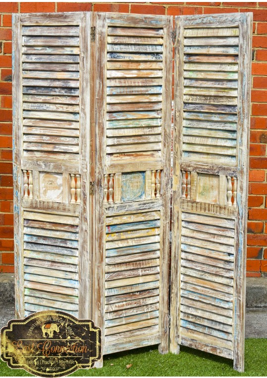 Vintage Indian Shabby Chic Reclaimed Timber Shutter Screen