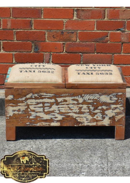 Recycled Timber Double Box Storage Seat