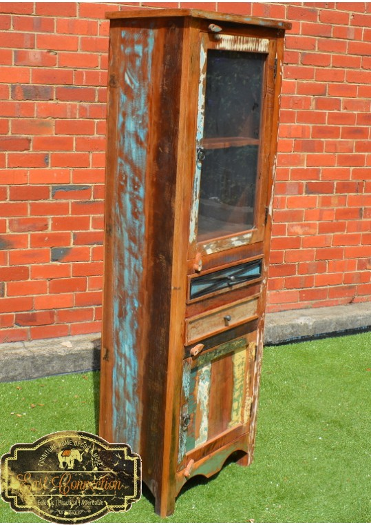 Reclaimed Timber Country Display Shelf Glass Door Cabinet