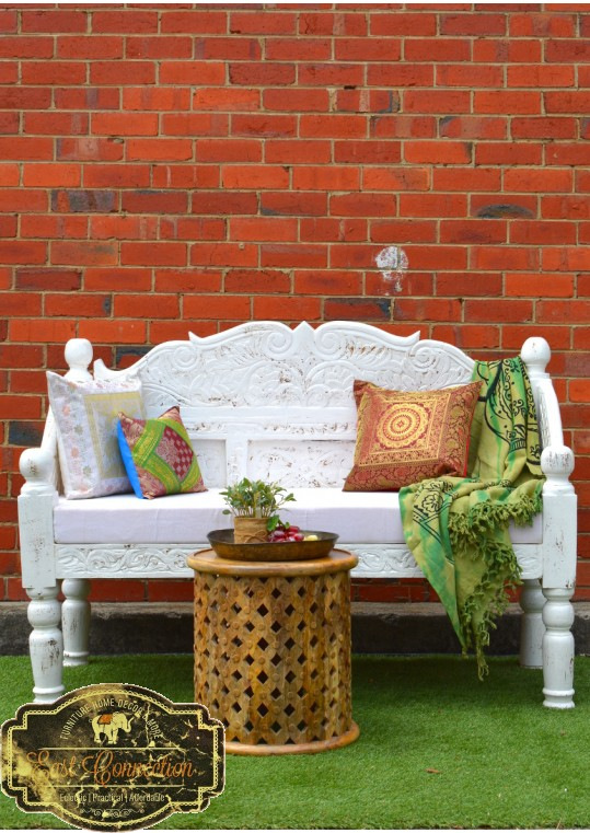 Vintage White Rustic Handcarved Timber Indian Day Bed
