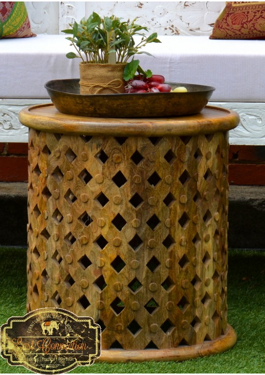 Hand Carved Timber Small Bamileke Side Table