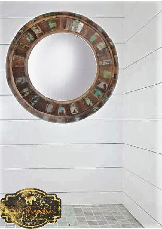 Reclaimed Timber Frame Round Wall Mirror