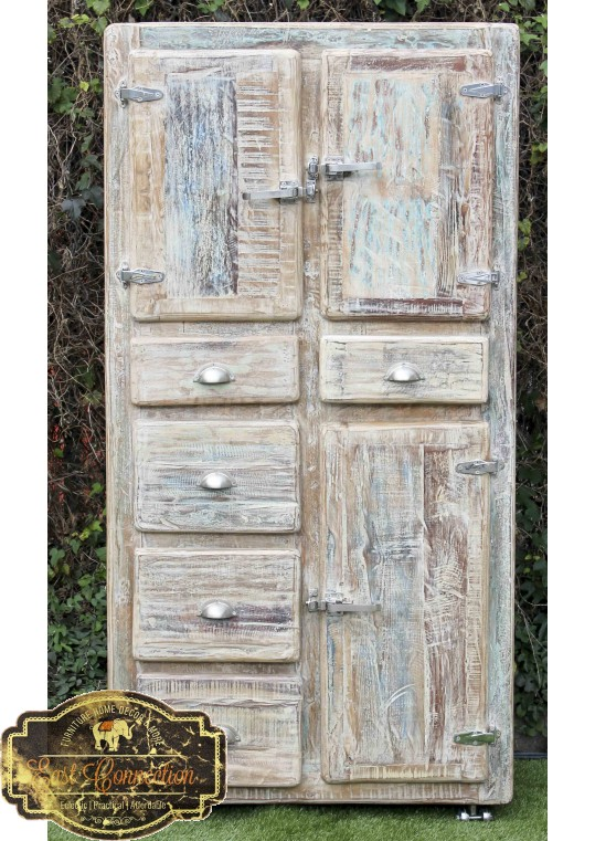 Whitewashed Timber Retro Industrial Cupboard