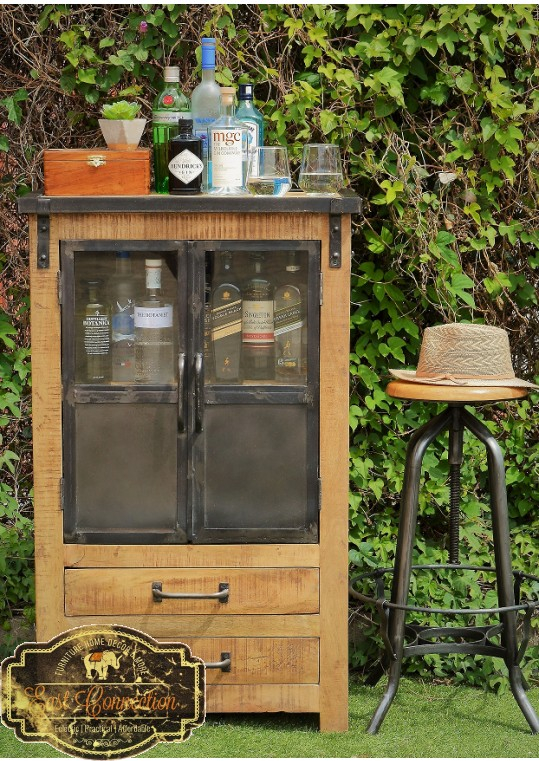 Vintage Industrial Timber Glass Metal Door Cabinet Display Unit