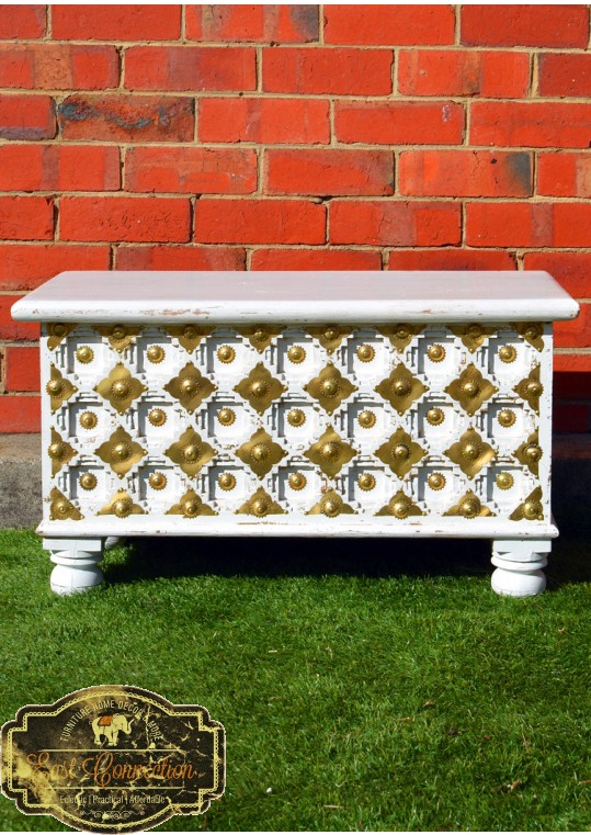 Rustic Antique White Embossed Brass Fitted Chest