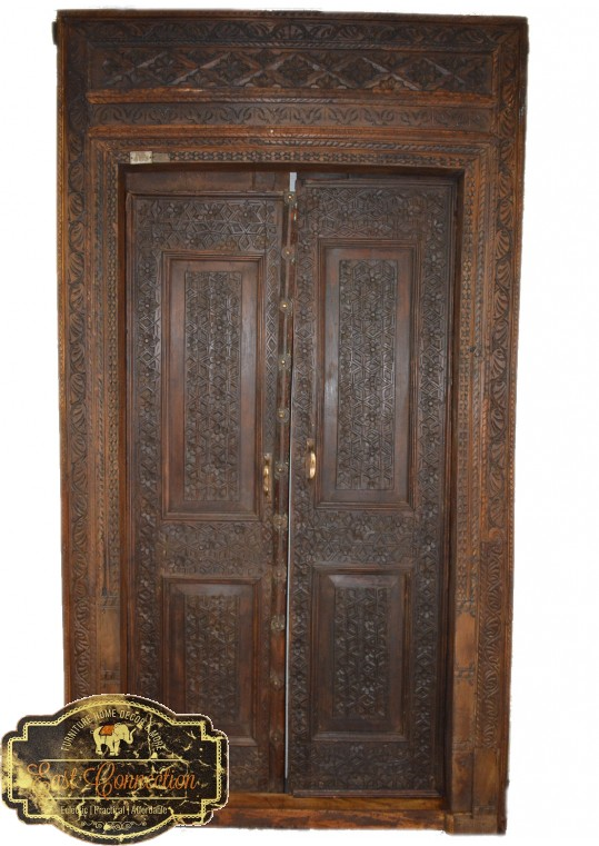 Hand Carved Antique Indian Timber Entrance Door