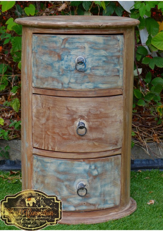 Whitewashed Shabby Chic Drawers Round Bedside Table