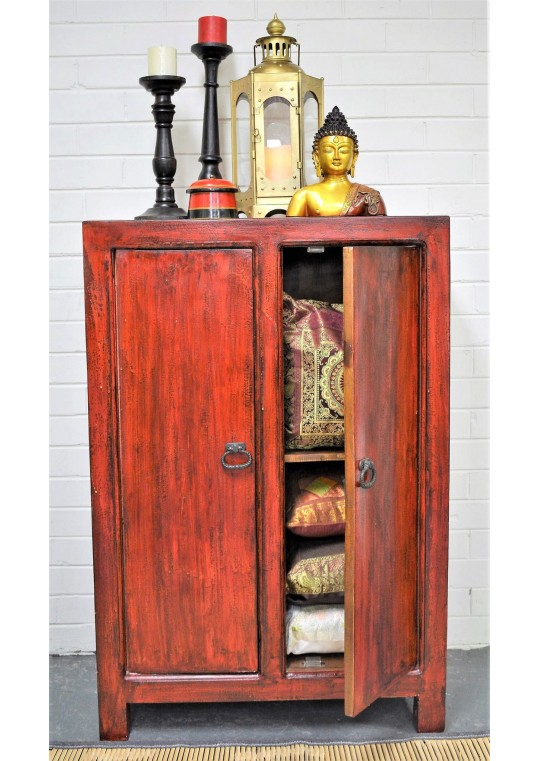 Oriental Red Antique Chinese Cabinet