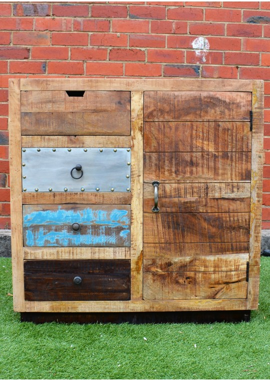Vintage Industrial Plantation Timber Sideboard Cabinet