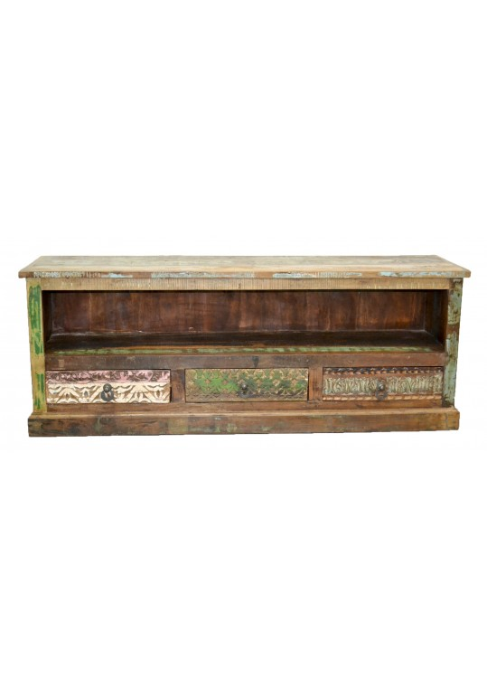 Recycled Timber Hand Carved Lowline TV Stand