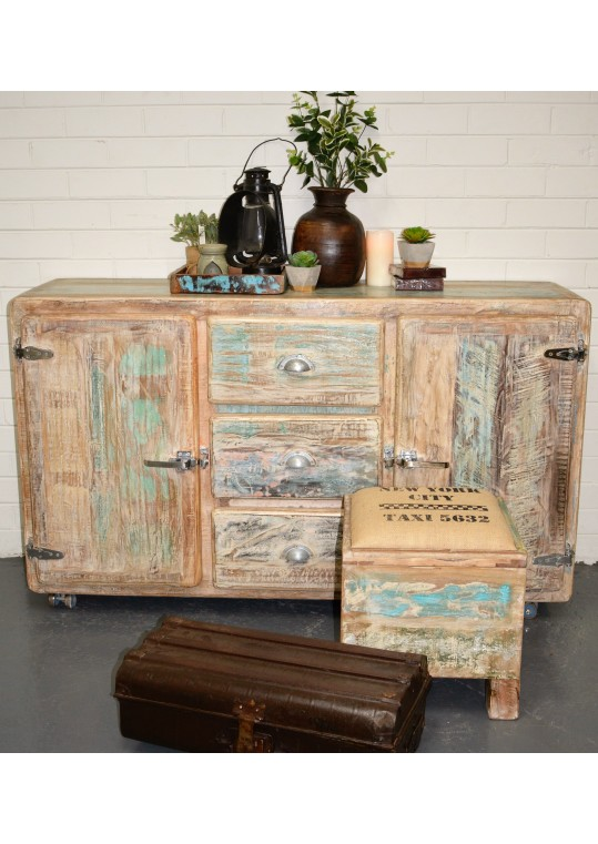 Whitewashed Timber Retro Industrial Sideboard