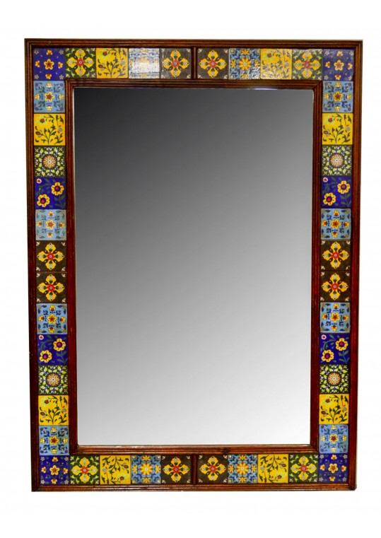 Indian Vintage Moroccan Ceramic Tile Large Mirror