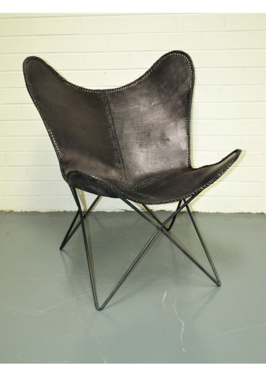 Vintage Industrial Black Leather Butterfly Chair