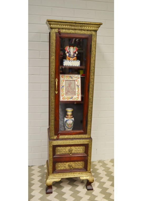 Indian Teak Brass & Glass Display Cabinet